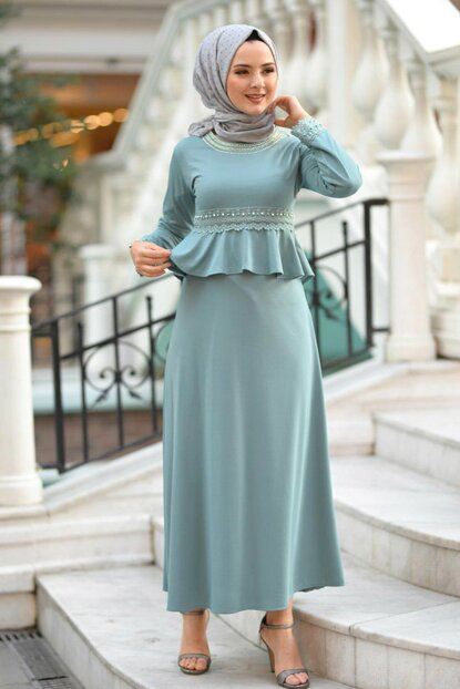 Women's Mint Laced Hijab Dress TSD9908