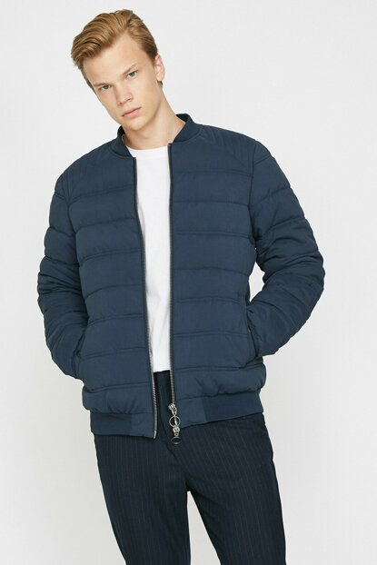 Men's Navy Blue Pocket Detailed Coat 0KAM24500OW