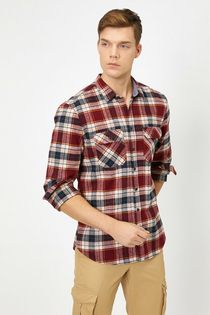 Men's Red Plaid Shirt 0KAM61803LW