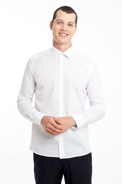 Men's White Long Sleeve Slim Fit Shirt - 83816