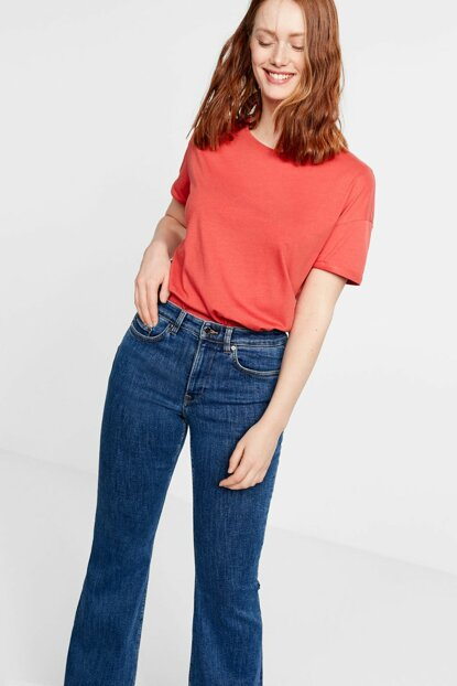 Women's Coral Red Organic Cotton T-Shirt 53000536
