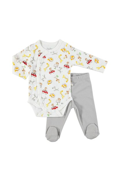 Baby Cheerful Animals Zıbın Body Boots Bottom Set 2PCS 19KFMBESET083