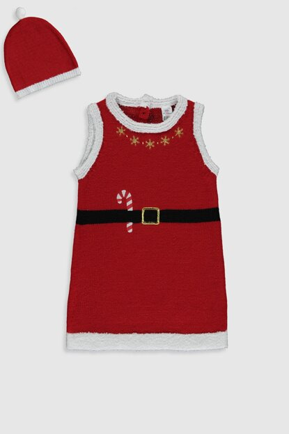 Baby Girl Red Gzl Dress And Beanie 9WT713Z1