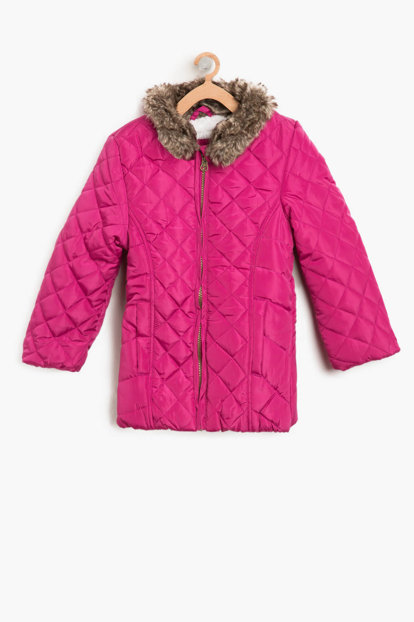 Pink Girl Kid Faux Fur Coat