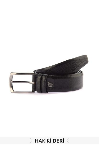 Black Men's Genuine Leather Belt TMNSS19GD0018