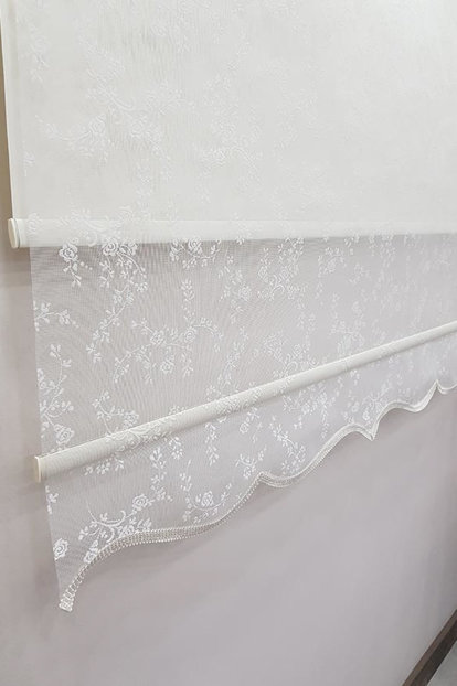 180X200 Double Mechanism Tulle Curtain and Roller Blinds MT4003 8605480999842