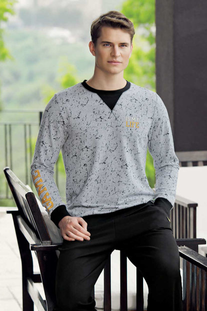Men's Gray Printed Pajamas Set Mep24501-1 MEP24501-1