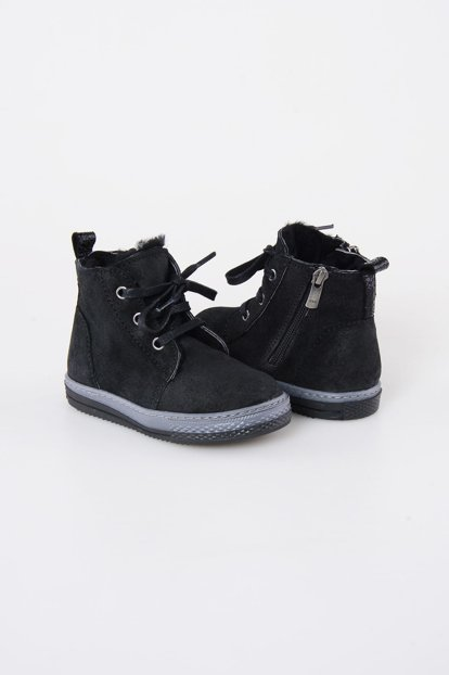 Black Genuine Suede Inside Fur Children Boots 186001
