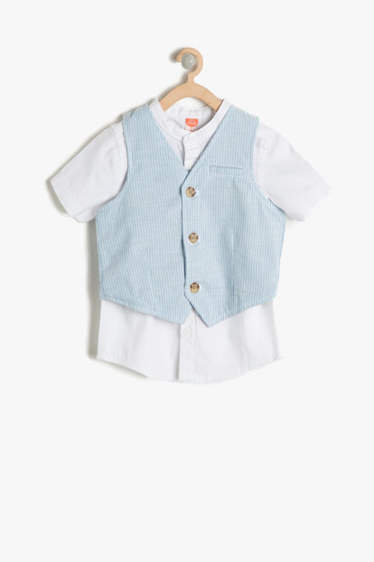 Blue Patterned Baby Boy Suit 7YMB14085OW
