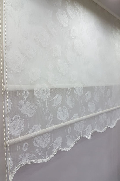 160X200 Double Mechanism Tulle Curtain and Roller Blinds MT1093 8605480888322