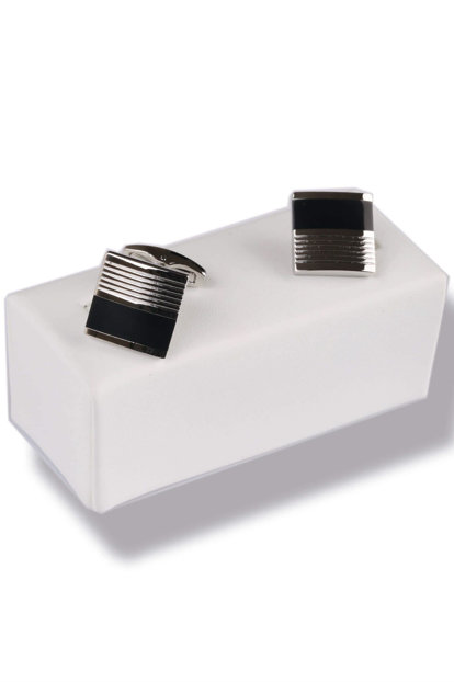 Black - Silver Color Square Cufflink KD434