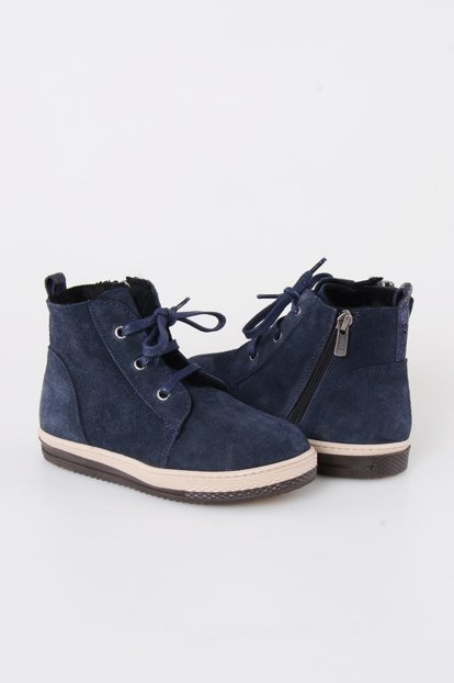 Navy Blue Genuine Suede Inside Fur Children's Boots 186001