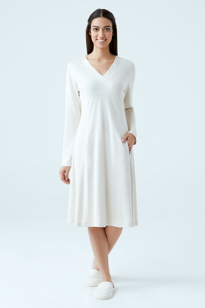 Women's Beige V-neck Long Sleeve Nightdress B0217K0860 B0217K0860
