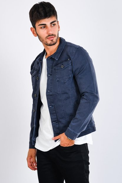 Double Pocket Buttoned Smoked Men's Jeans Jacket - 9241