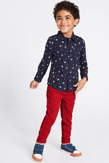 Red Men's Cotton Trousers T88003144X