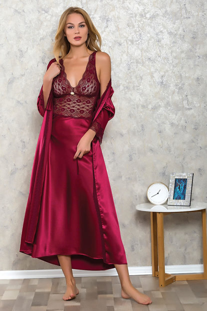 Women Burgundy Satin Long Nightgown Dressing Gown Suit LB9504 MLB9504