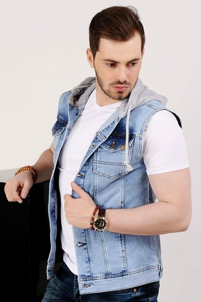 Mottled Hooded Light Blue Mens Jeans Vest - 9173