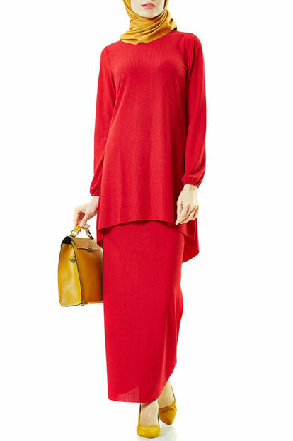Women's Skirted Suit Red 1408-34 PILISE-1408