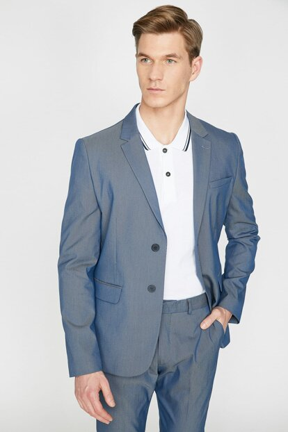Men's Blue Classic Lapel Button Detailed Pocket Detailed Blazer Jacket 9YAM59026NW 9YAM59026NW
