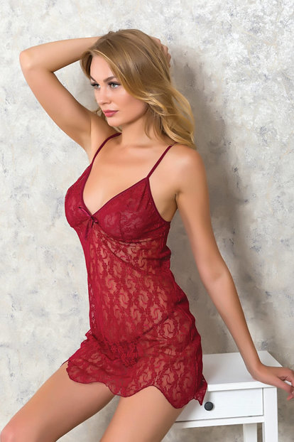 Women's Burgundy 2pcs Nightgown Briefs Suit LB9031 MLB9031