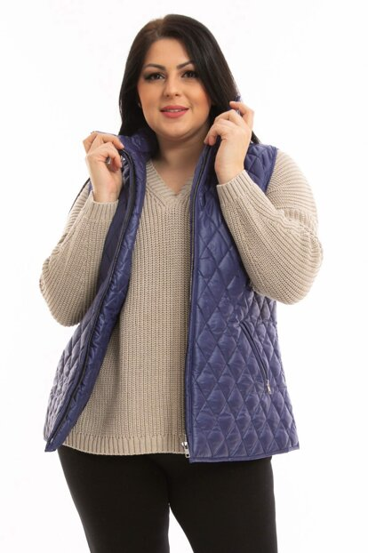 Women's Navy Blue Quilted Waistcoat P5125