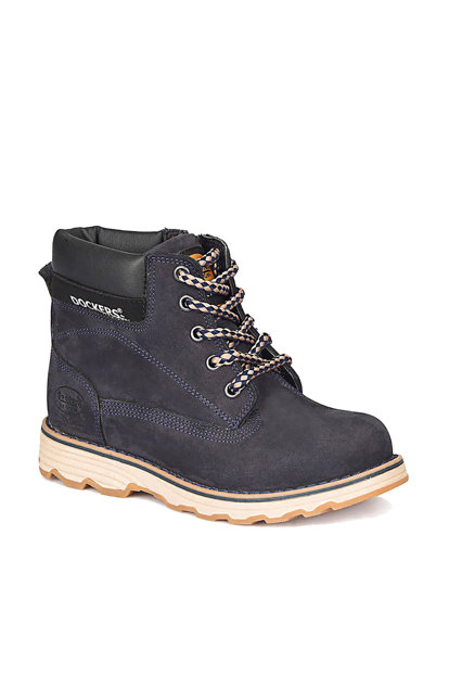 Navy Blue Boys Leather Boots 000000000100283386 000000000100283386