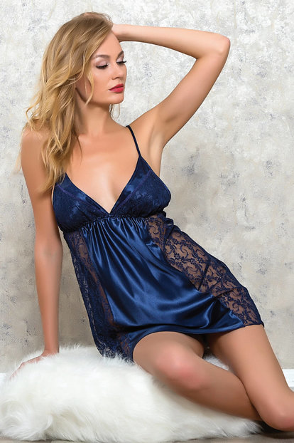 Women's Navy Blue Satin Nightdress MLB9064 MLB9064