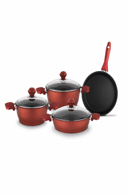Titanium 7 Piece Cookware Set - Red 12382