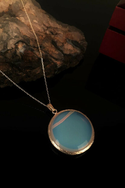 Women's Naturalstone Moonstone 925 Sterling Silver Chain Necklace Krb185
