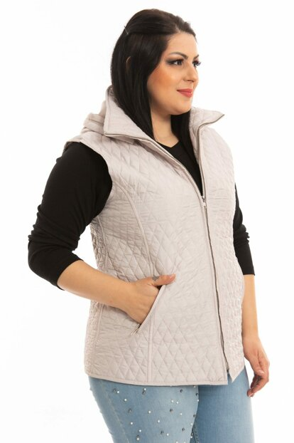 Women's Stone Hooded Quilted Waistcoat P5264