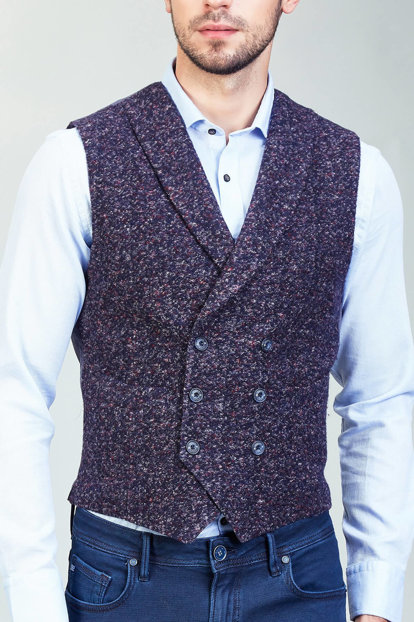 Men's Navy Blue Vest - A82Y6508-11 A82Y6508-11