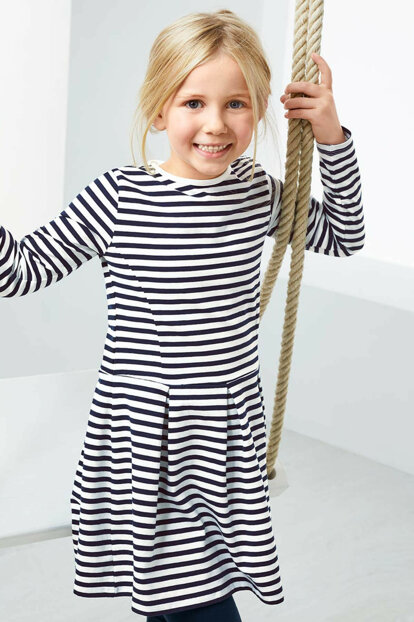 Children Organic Cotton Jersey Dress Blue White 93401 93401