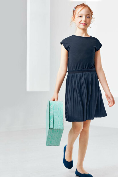 Child Pleated Dress Navy Blue 94704 94704