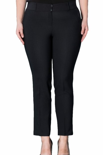 Women's Black Ankle-Length Pocket Trousers PT2136