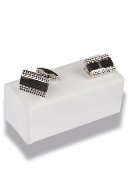 Black - Silver Color Cufflinks KD471
