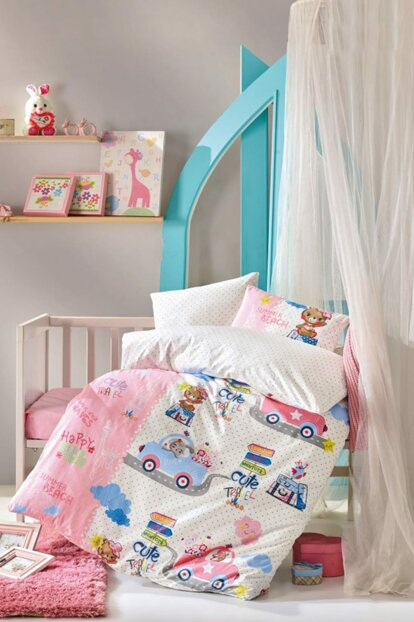 Cute Travel Pink Baby Duvet Cover Set 3345678910121