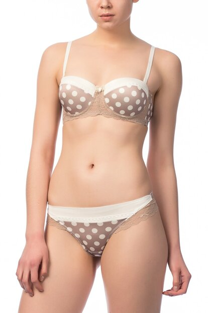 Women's Milky Coffee - Ecru Strapless String-Bra Suit NBB 4451 NBB4451