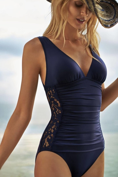 Women's Navy Blue Lace Embroidered Swimwear 1127910