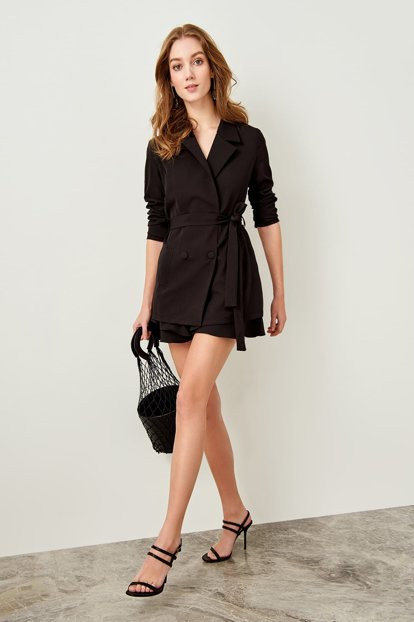 Black Button and Binding Detailed Jacket TCLSS19AP0028