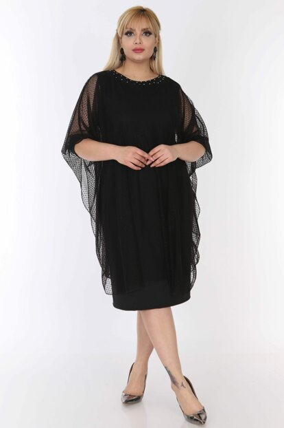 Women's Black Tulle Cape Evening Dress 16B-0503