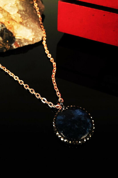 Women Natural Stone Lapis Lazuli Move Rose Gold Plated Necklace Krb127