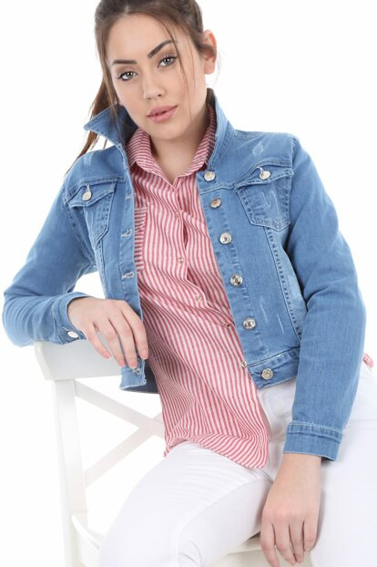 Women's Light Blue Pocket Jeans Jacket 0612BGD19_084