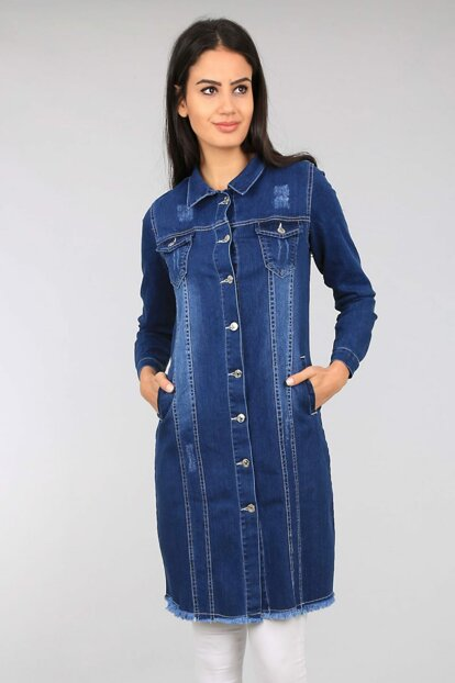 Women's Dark Blue Long Jeans Jacket 0614BGD19_131