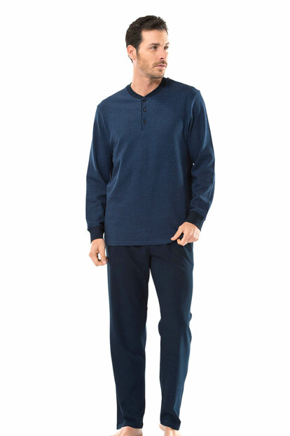 Men's Navy Blue Jacquard Patterned Long Sleeve Pajamas Suit 100% Cotton 4116 4116