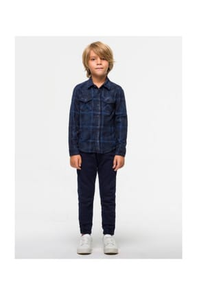 Boys' Jean Shirt ROHAN B NAVY RUSTY PLAID WASH 0300926060139875081602