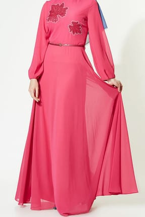Women's Bike Neckline Evening Dress Fuchsia 2028-43 Lady-Nur-2028