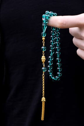 Gold Plated Silver Fire Tassel Amber Rosary T100156