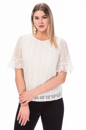 Women's White Lined Blouse 23902