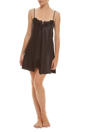 Women's Black Satin Nightgown MSD-427