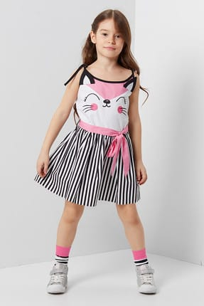 Girl's Child's Woven Cat Woven Dress CFF-19Y2-055
